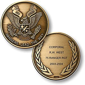 Personalized Custom Engraved United States Army Rangers Premium Bronze - Challenge Coin - Medallion - 1 1/2 in (39mm) Round