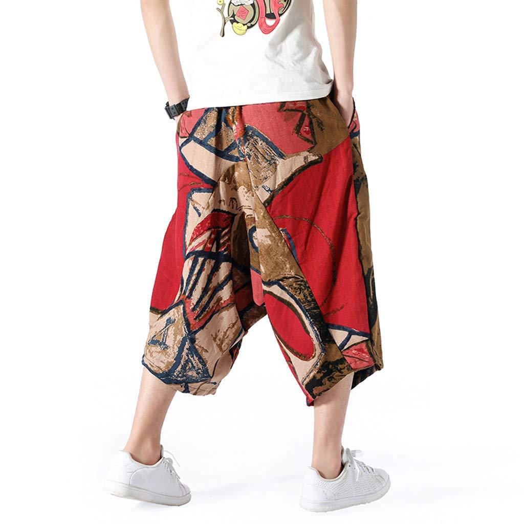 wodceeke Fashion Men's Printed Vintage Cotton Blends Linen Drop Crotch Jogging Harem Pants Yoga Trouser (L, Brown) by wodceeke (Image #4)
