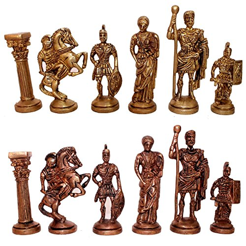 "StonKraft 3.5"" King Height - Collector Edition Brass Chess Pieces Pawn Chessmen Roman Figure Figurine Pieces Coins - Appropriate Wooden & Stone Chess Boards Available Separately Brand"