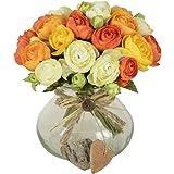 10capi Piece Tea Bud fiori artificiali per casa e matrimonio senza vaso e basket, 1pezzo di fiori, 4colori Orange