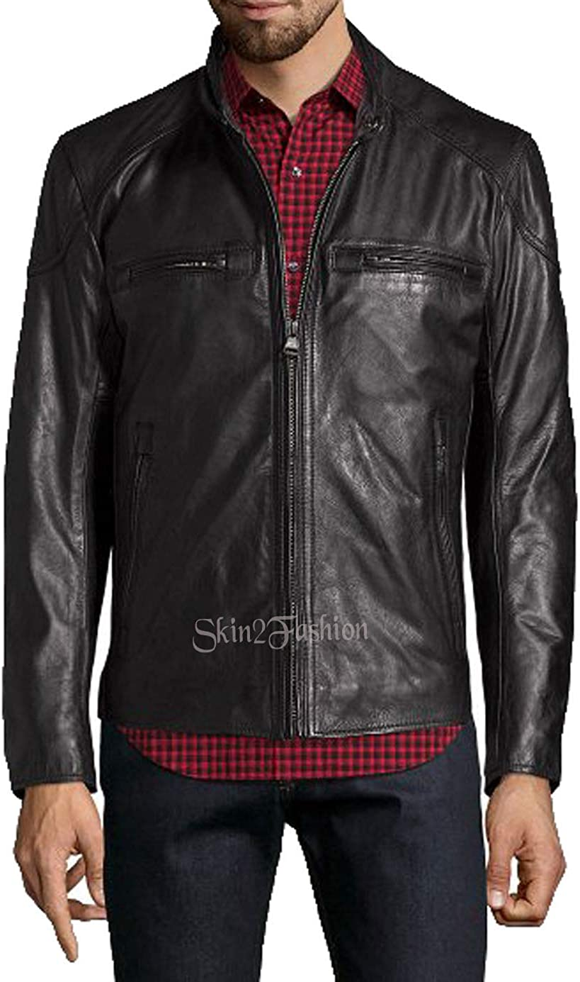 Mens Leather Jackets Motorcycle Bomber Biker Genuine Lambskin 309