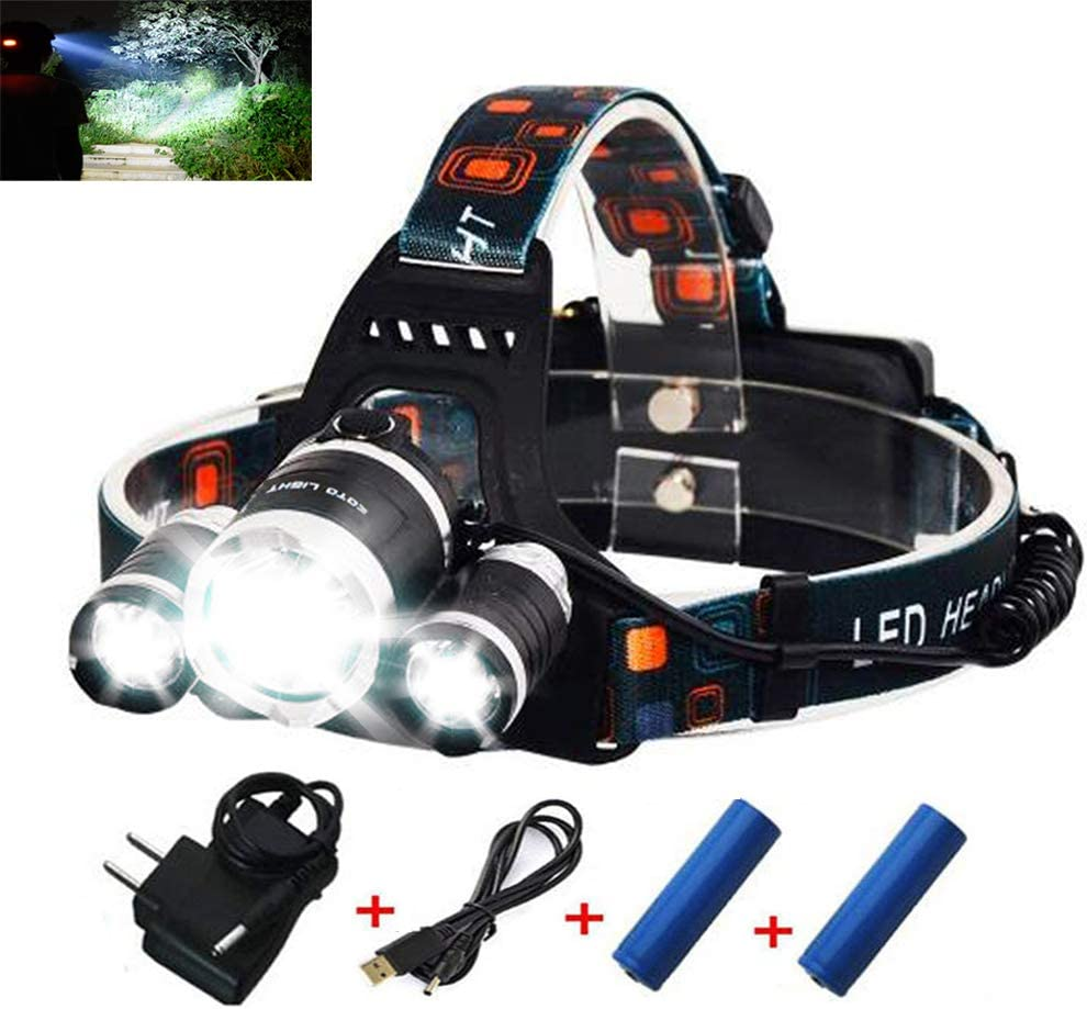 Outdoor Bright USB Rechargeable Clip On Hat Sensor Rotatable Head Lamp 6-Led NEU