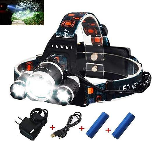XTE LED Headlight 5W USB Rechargeable Wave Sensor Flashlight for Fishing #w