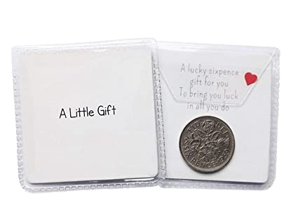 'A Little Gift' Lucky sixpence general gift for various occasions including wedding favours or as a little token present: Amazon.co.uk: Kitchen & Home