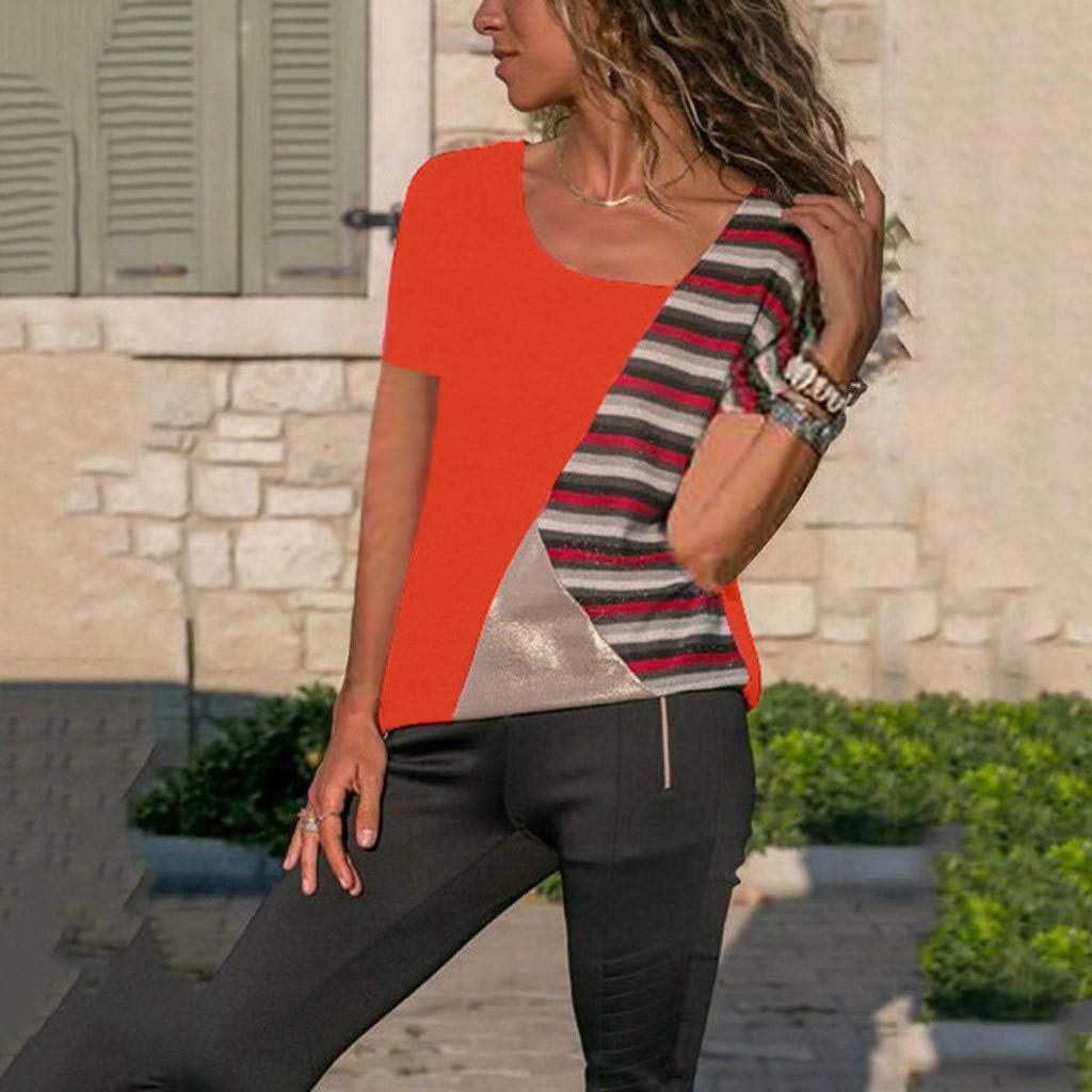 Pingtr Tops Womens Color O-Neck Casual Short-Sleeved Patchwork Striped Top