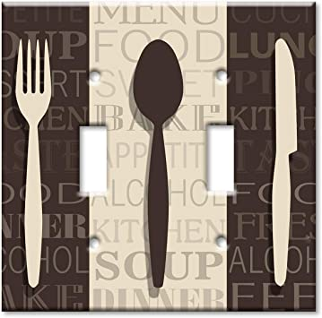 Art Plates 2 Gang Toggle Oversize Switch Plate Over Size Wall Plate Fork Knife And Spoon Amazon Com