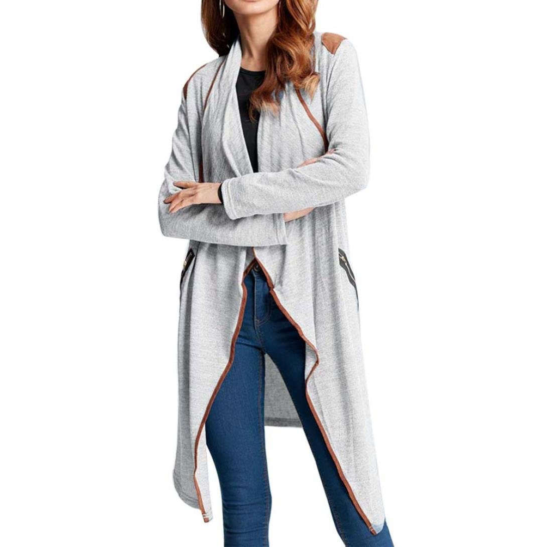 Outsta Womens Knitted Casual Long Sleeve Tops Cardigan Jacket Outwear Plus Size (L, Gray)