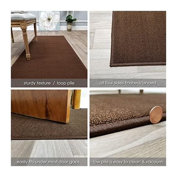 """Custom Size Brown Solid Plain Rubber Backed Non-Slip Hallway Stair Runner Rug Carpet 22 inch Wide Choose Your Length 22in X 6ft - COLORS: BROWN - ACTUAL SIZE: 22 inches x 6 feet Machine woven loop texture with 100% nylon pile for long lasting quality with vivid colors that won't fade away   With its stain, mold, mildew, bacteria, soil resistant polypropylene material; it is also an ideal addition to homes with kids and pets! Efficient LOW PILE (1/4"""") which does not add bulk to your floor and great fit under most of the doors   Custom made in the USA - Great for Events, Churches, Weddings, Aisles, Stairs, Hallways, etc. - runner-rugs, entryway-furniture-decor, entryway-laundry-room - 61uSbkNCvHL. SS570  -"""