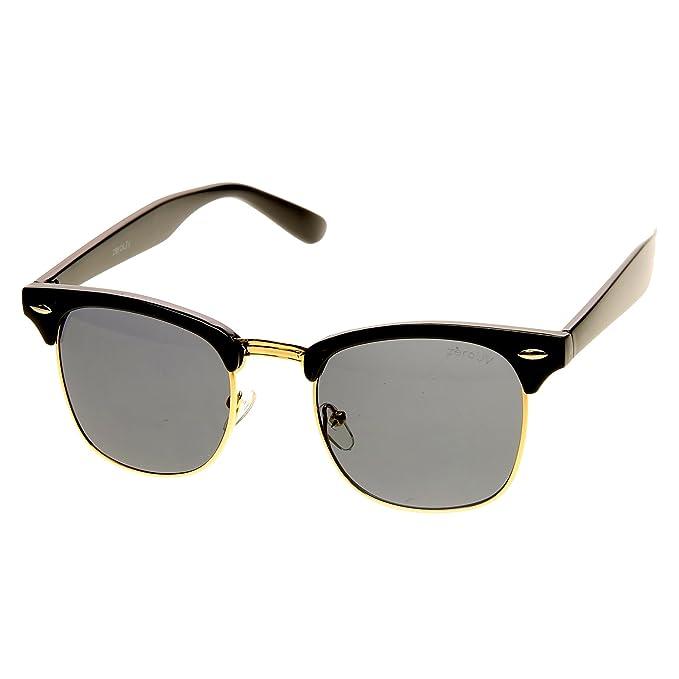 51c5d38178 zeroUV - Premium Half Frame Horn Rimmed Sunglasses with Metal Rivets (Black -Gold Smoke)  Amazon.co.uk  Clothing