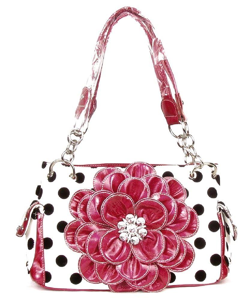 DH Polka Dot Bling Rhinestone Flower Western Purse Shoulder Bag Jp Black  White (Pink)  Handbags  Amazon.com 057a5921f4f39