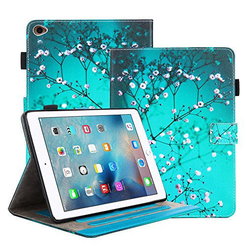iPad Air 2 Case, Itrendz [Cute Smart Case] Cherry Blossom PU Leather Flip Case [Card Slot Case] [Magnetic Closure] Stand Smart Cover [Auto Sleep Wake] For Apple iPad Air 2 / iPad 6th Generation