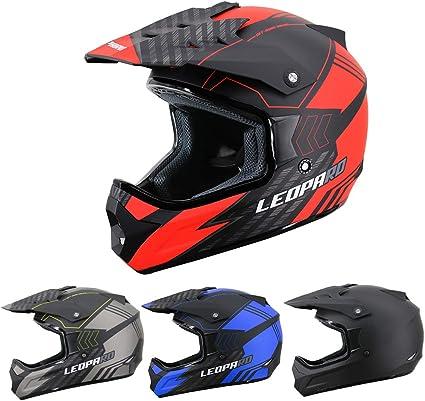Amazon.es: Leopard LEOX307 Casco de Moto Motocross Negro Mate/Rojo XS (53-54cm) para Ciclomotor Motocicleta y Scooter Mujer y Hombre ECE Homologado