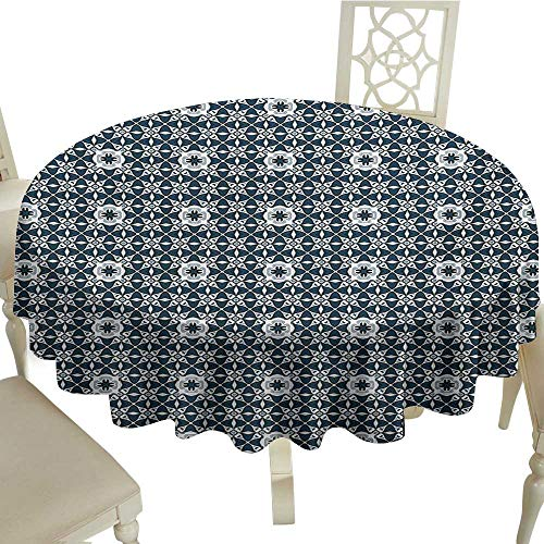 Cranekey Floral Round Tablecloth 60 Inch Traditional,Europe Azulejo Portuguese Mosaic Tiles Folkloric Cultural Heritage Spanish,Dark Blue White Great for Buffet Table,Parties,Holiday Dinner & More -