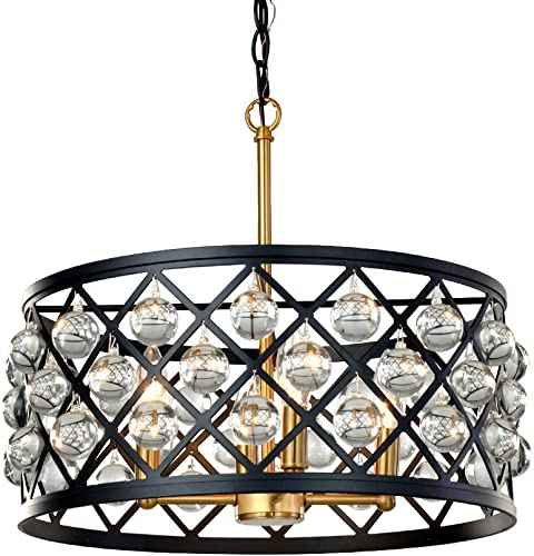 KARMIQI Crystal Chandelier Light Fixture 4-Light Ceiling Light
