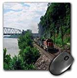 3dRose LLC 8 x 8 x 0.25 Inches Mouse Pad, Triple Header with Train Going Through a Mountain Pass (mp_80382_1)