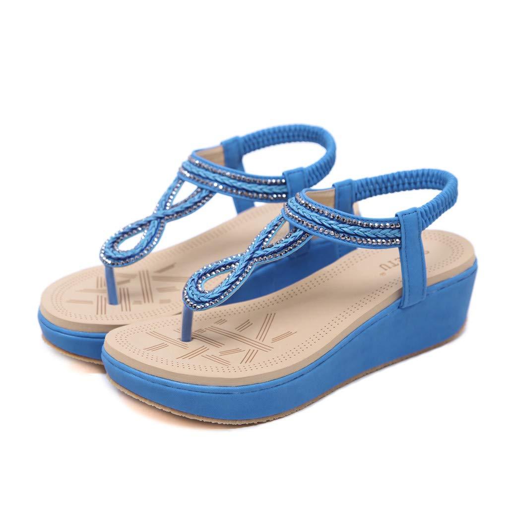 GNYD Sandalias Mujer Verano 2019 con Plataforma,Bohemia Flip Flops Beach T-Strap Zapato Casual para Caminar