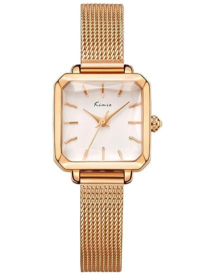Alienwork Reloj Mujer Relojes Acero Inoxidable Oro Rosa Analógicos Cuarzo Blanco Impermeable Clásico Elegante