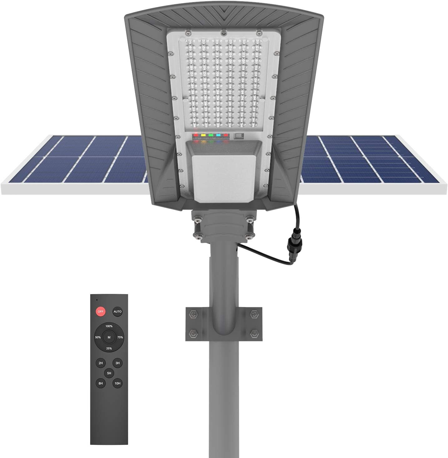 Hyperaza 150w Led Solar Street Lights, Solar Flood Lights Outdoor Dusk to Dawn with Remote Control, 9600 Lumens Waterproof Solar Security Light for Garden, Pathway (Mounting Bracket Included)