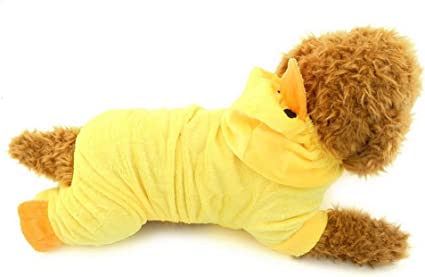 Ranphy Small Dog//Cat Velvet Duck Costume Halloween Fancy Dress Yokie Clothes Party Xmas Duck Design Pet Apparel Yellow S
