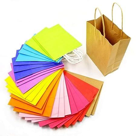 JZK 30 x Bolsas de regalo papel kraft colores con asas para niños bolsas golosinas para fiestas bolsas de regalos bolsas de recuerdos boda cumpleaños ...