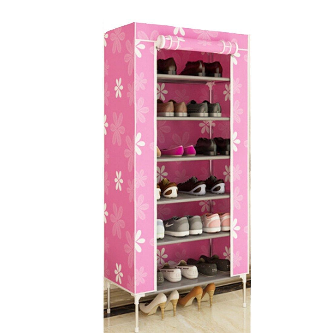 Osave Portable Lightweight 7-Tier Shoe Rack Shoe Storage Organizer for Family or School Use (One size, Pink)