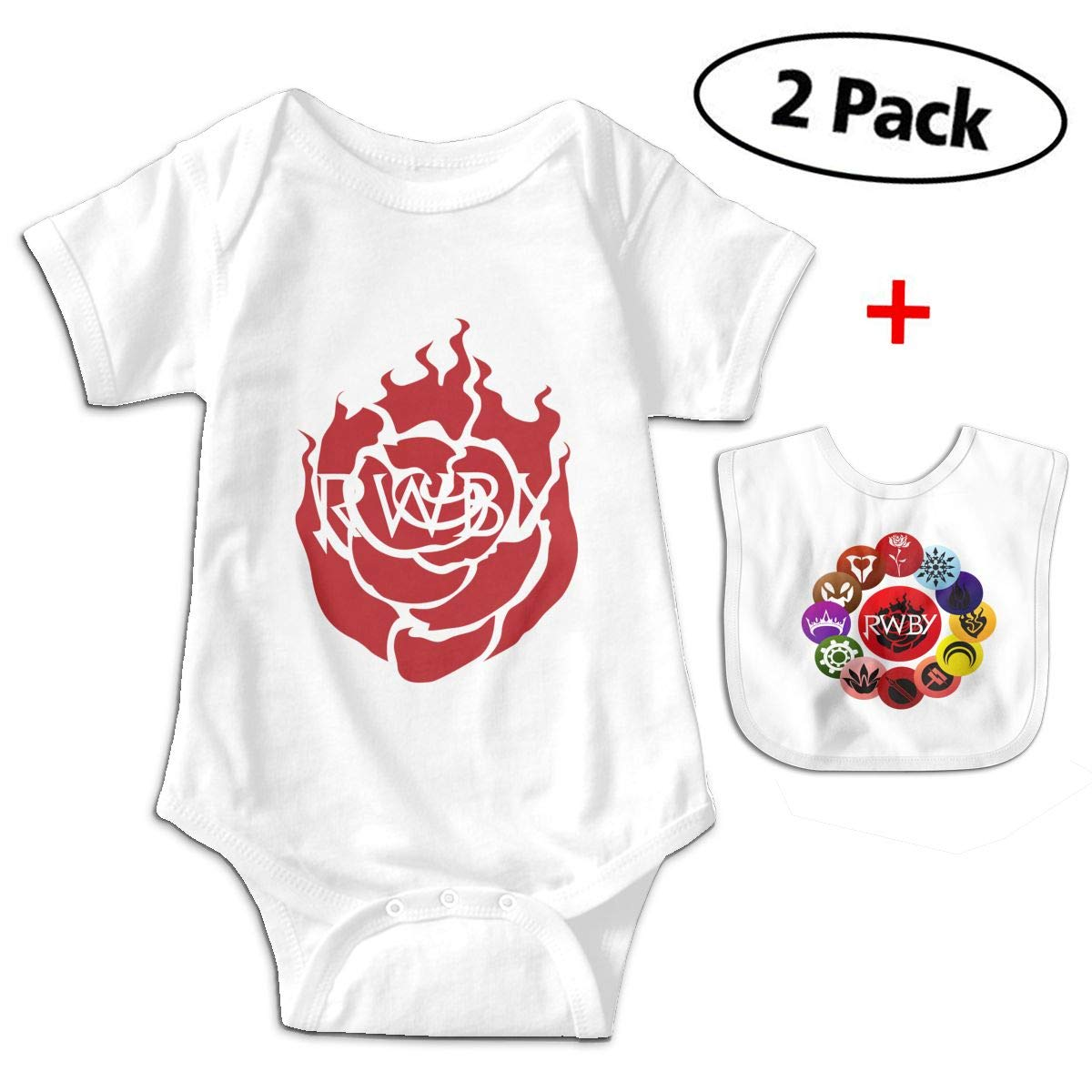 R-W-B-Y Ruby Rose Babys Kids Short Sleeve Jumpsuit Outfits for 3-24 Months and Baby Bib