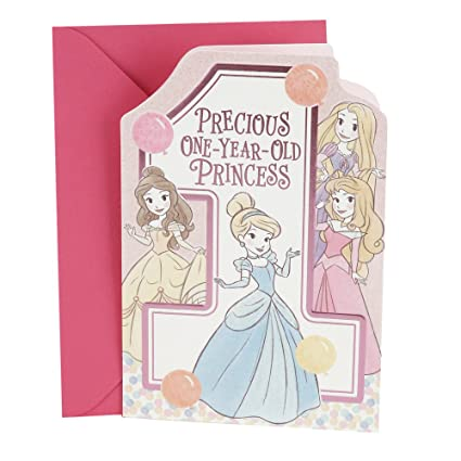 Amazon Hallmark 1st Birthday Card For Girls Disney Princesses