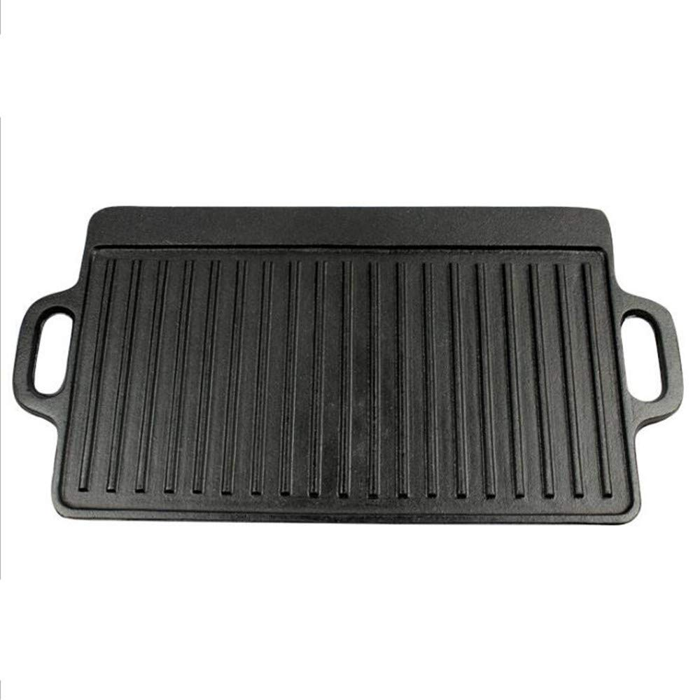Double-Sided Frying Pan/Iron Plate Grilled Meat Fried Fish Cast Iron Steak Frying Pan/Flat Frying Pan Frying Pan,A