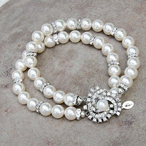 Two Strand Bracelet with Swarovski Crystal Simulated Pearl and Rhodium Plated Rhinestone Swirl ()