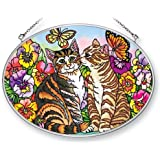 Amia 41389 Cat and Butterfly 7 by 5-1/2-Inch Oval Sun Catcher, Medium