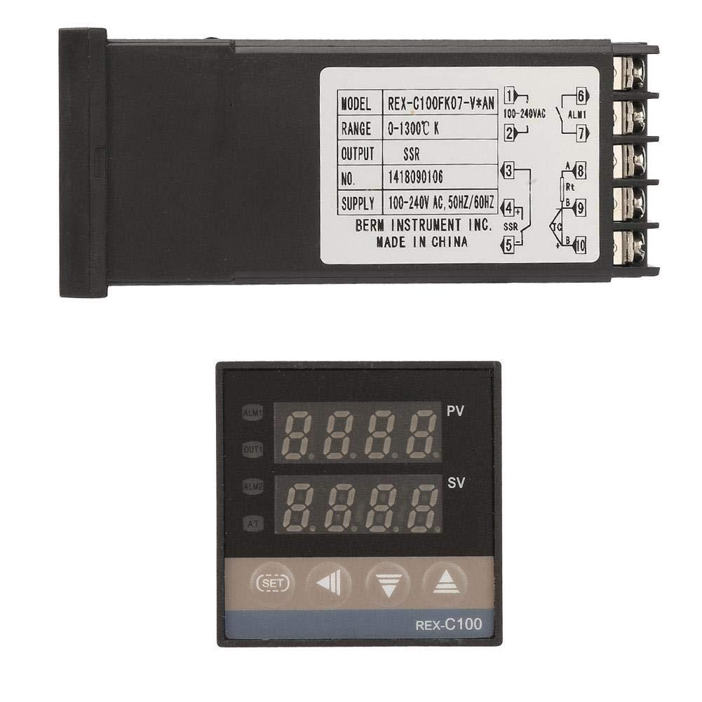 0-1300℃ Temperature Controller 0-1300℃ Kits AC 110V-240V LED PID Alarm Digital Digital Temperature Controller with Thermocouple//Temperature Sensor /& Max 25A SSR