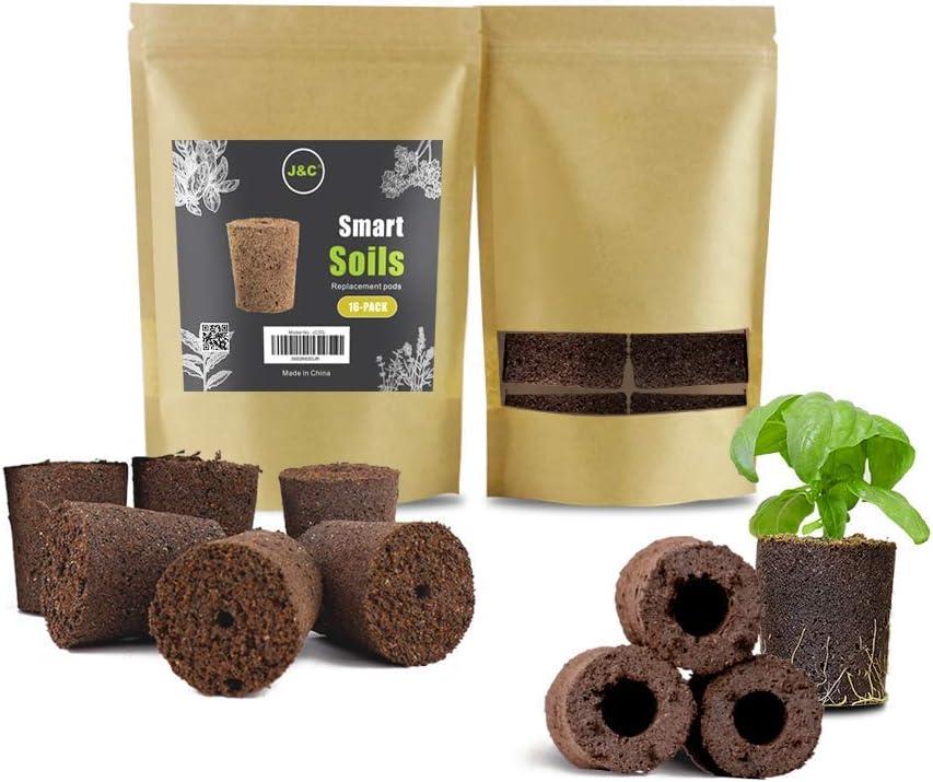 J&C Hydroponic Indoor Garden Smart Sponge with Nutrients, Replacement Grow Pod, Pack of 16