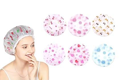 yiqi 6pcs Gorro de Ducha Impermeable de plástico Gorros para el Pelo de baño  con Banda 7e110e8ed85