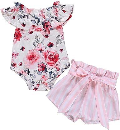 Newborn Infant Baby Girls Floral Stripe Romper Jumpsuit Trousers Summer Clothes