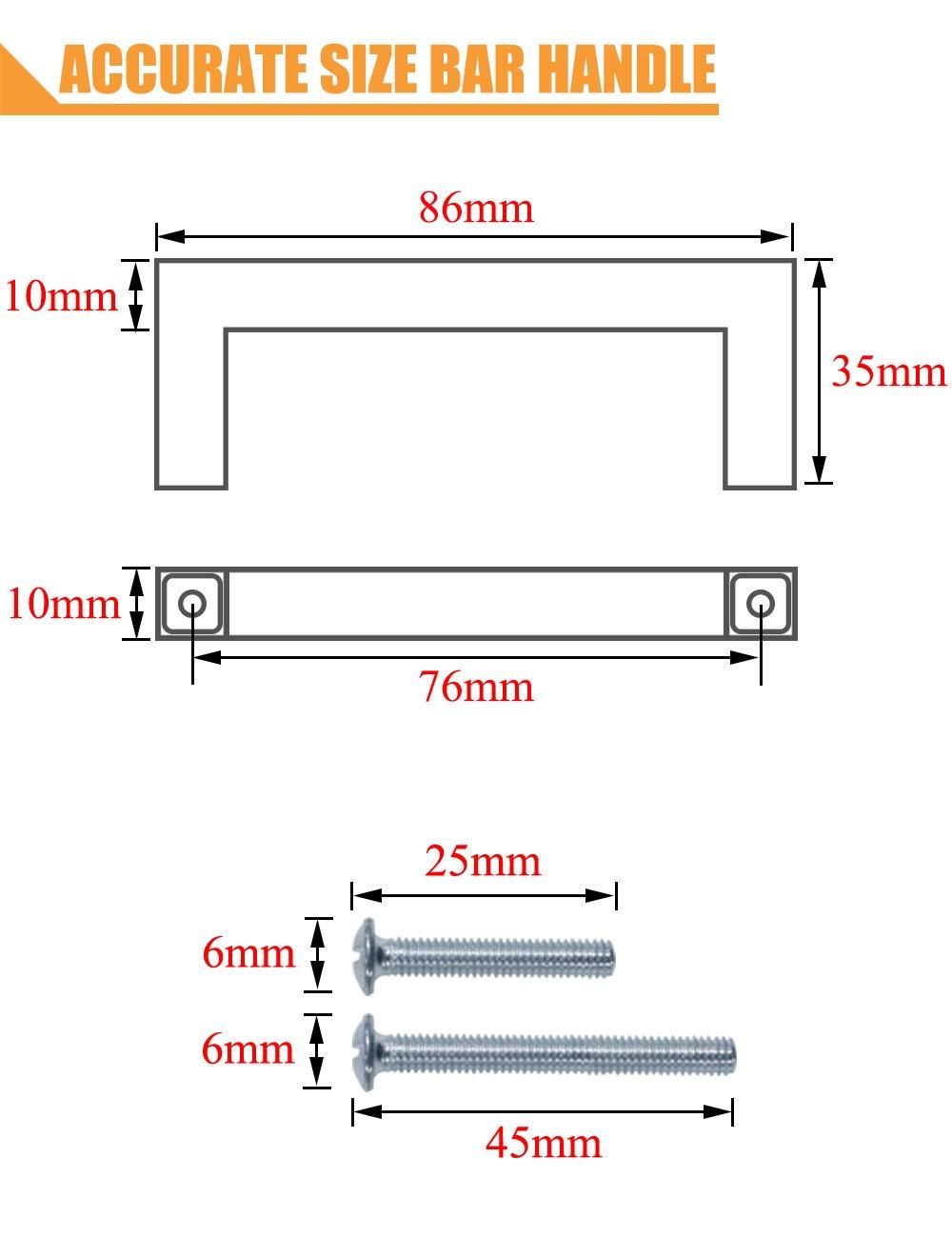 Probrico 50mm 64mm 76mm 96mm 128mm 160mm 192mm 224mm 256mm 20X pomos cuadrados de n/íquel cepillado para puerta de armario de cocina acero inoxidable 9 tama/ños