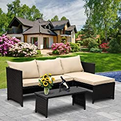 Garden and Outdoor Valita 3-Piece Outdoor PE Rattan Furniture Set Patio Wicker Conversation Loveseat Sofa Sectional Couch Khaki Cushion patio furniture sets