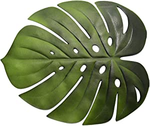 SYLOTS 6 Pcs Tropical Leaf Placemats, Artificial Green Monstera Leaves Palm Leaf, Artificial Soft Tropical Palm Leaves for Wedding Table Decorations Jungle Party Supplies