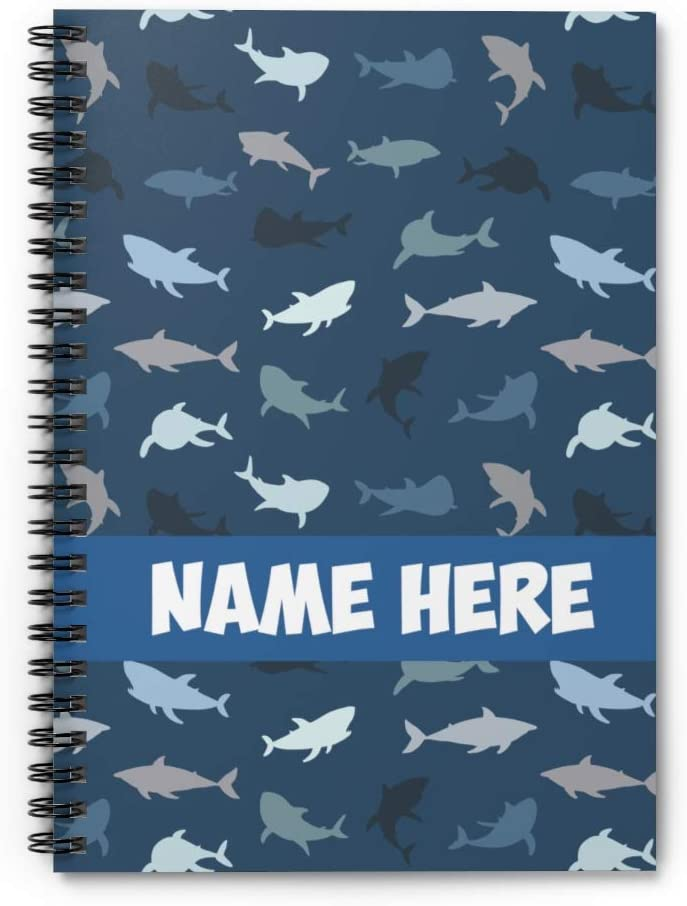 Personalized Shark Themed Blue Shark Pattern Spiral Notebook - Custom Notebook for for Kid, Teens, Girls, Women, Kids Gifts