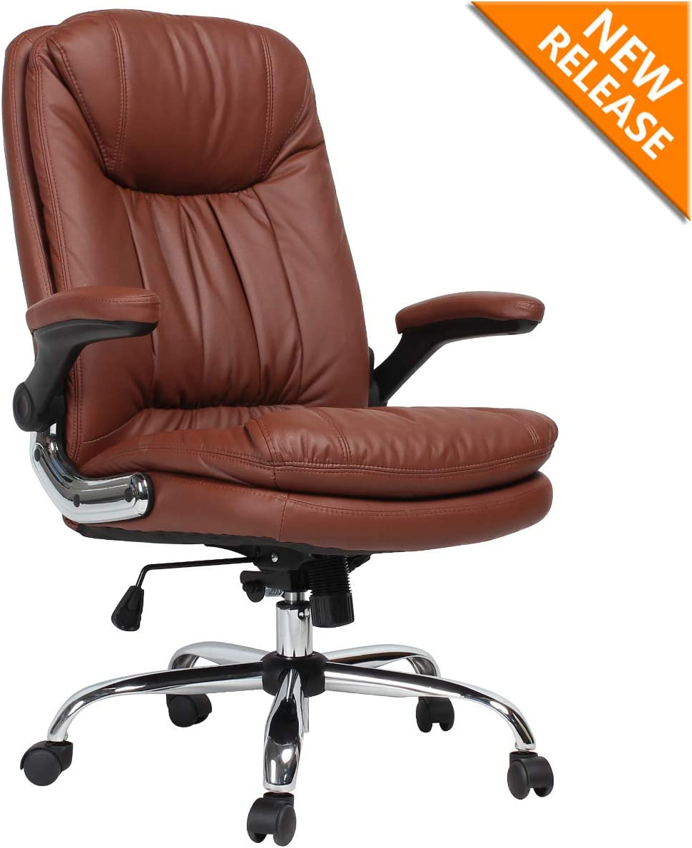 B2C2B Ergonomic Office Chair - High Back Desk Chair with Flip-Up Arms and Comfy Thick Cushion Leather Computer Chair Big and Tall 350LBS Brown