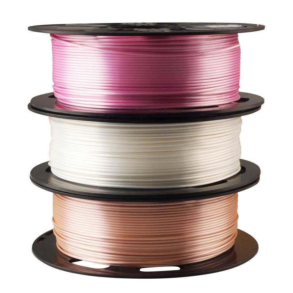 MIKA3D Shiny Rose Gold Pink Purple Pearl White 3D Printer PLA Filament Bundle 1.75mm 3D Printing Material 0.5kg Spool Total 3 Spools 1.5kgs Filament Pack