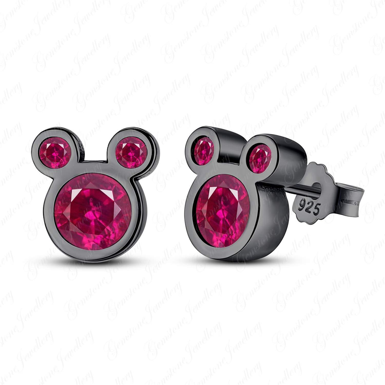 Gemstone Jewellery 18k Black Gold Finishing Red Ruby Mickey Mouse Stud Earrings In 925 Sterling Silver