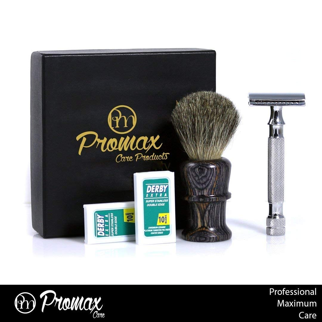 ProMax Double Edge Safety Razor With Shaving Brush- Wet Shave Kit With 20 Derby Blades-Chrome Finish 4 inch Long Handle Rust free and Unbreakable-300-10002 ProMax Intl