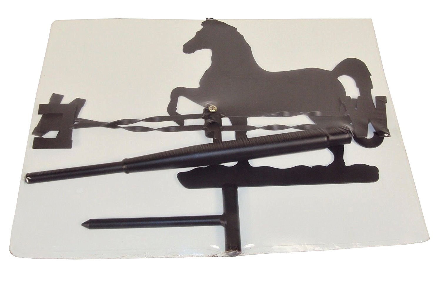 Yard Pole Black Metal Barn JH Smith Prancing Horse Weather Vane Topper For Rooftop