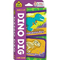 School Zone - Dino Dig Card Game - Ages 4+, Preschool to Kindergarten, Dinosaurs, Dinosaur Names, Counting, Matching…