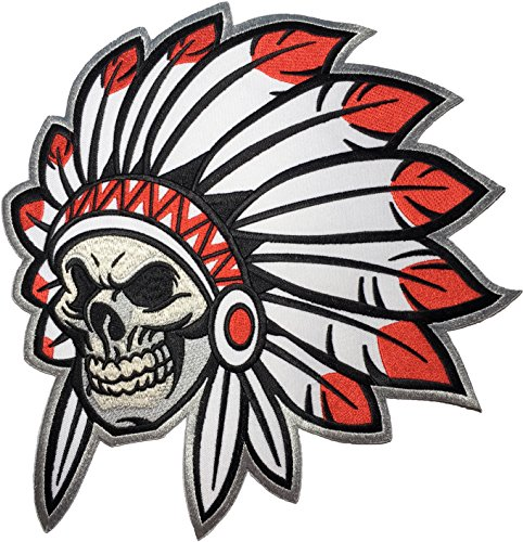 ([Large Size] Papapatch Native American Indian Chief Feather Death Skull Biker Motorcycle Vest Embroidered Sewing Iron on Patch (IRON-NATIVE-INDIAN-LARGE))