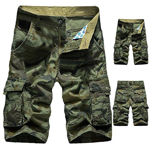 Pantaloncini Greem Pantaloncini Paolian All'aperto Lavoro Spiaggia Estate Casuale Cargo Camuffamento Tasca uomo Esercito CqUd7Uwv