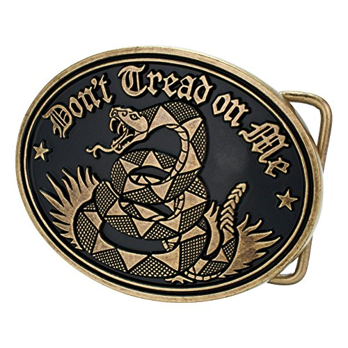 Don't Tread On Me Belt Buckle - Bronze - Flag Buckle Belt