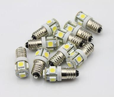10 Stück E10 LED Lampe Schraubsockel Linse Fahrrad Weiß Taschen 12V DC Auto DHL