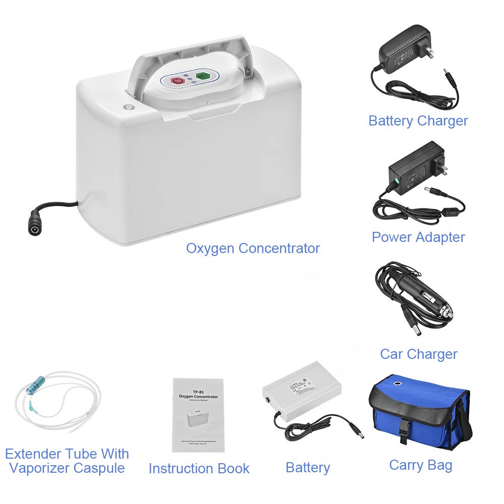 TTLIFE Portable Oxygen Bar Machine O2_Concentrator_Generator with One Battery for Travelling and car use 110V by TTLIFE