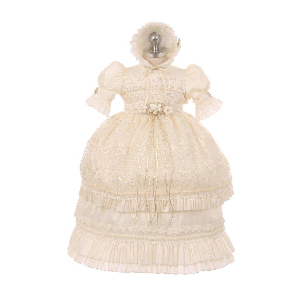 RainKids Baby Girls Ivory Shantung Floral Ruffle 3 Pc Bonnet Baptism Gown 12M